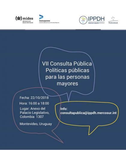 INVITACIÓN - VII Consulta Pública - IPPDH/MERCOSUR - Políticas Públicas para Personas Mayores
