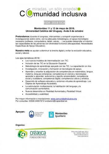 """Congreso Iberoamericano FIDA 2018 SICA """"Comunidad Inclusiva"""""""