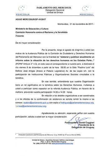 Invitación - Asistencia a Audiencia Pública del Parlamento del Mercosur