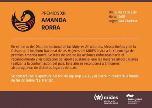 INVITACIÓN: Premiación Amanda Rorra